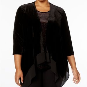 Black Plus Size Velvet Layered-Look Top NWT $89 1X